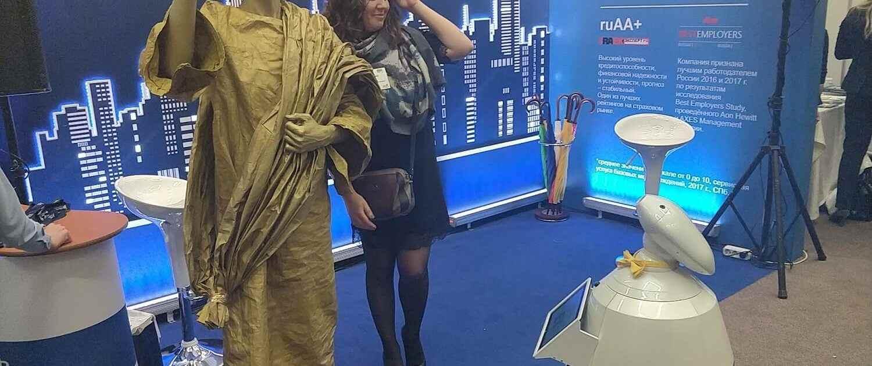 Ежегодная всероссийская выставка по кадровому менеджменту «HRM expo» в СПб. Робот рбот 100 Федор, Федя, Борис - доступная аренда для статусных событий